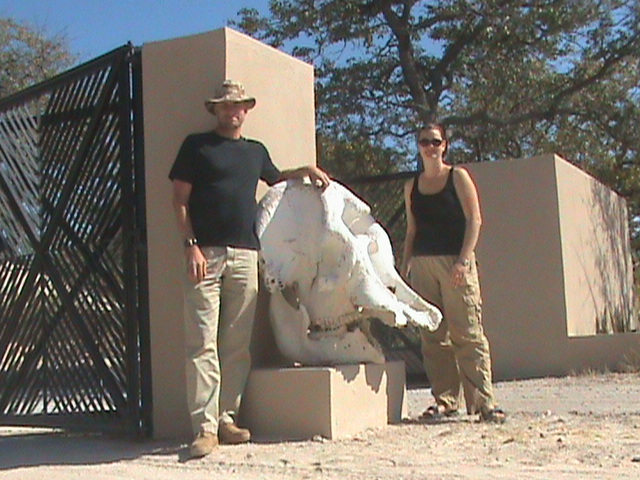 Chris and Deah outside Etosha Game Park gate, Namibia