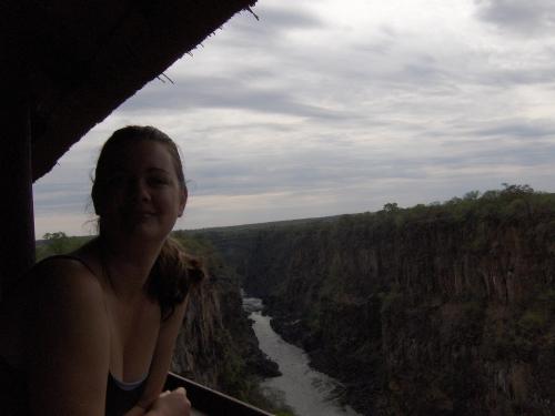 on bridge on top of zambezi river victoria falls zimbabwe