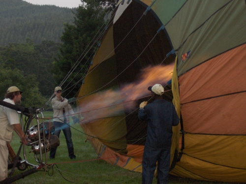 filling the hot air balloon hazyview South Africa