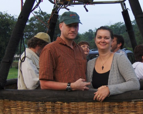 couple in hot air balloon basket south africa hazyview