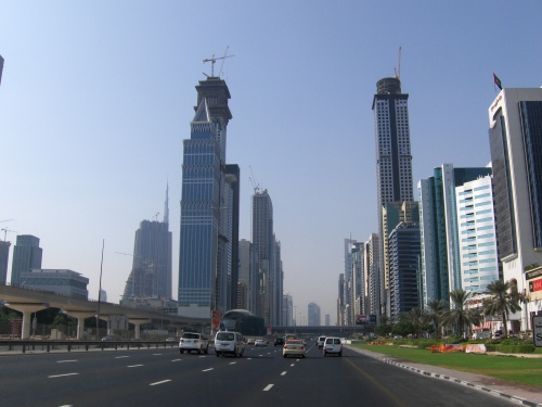 skyline of Dubai under construction