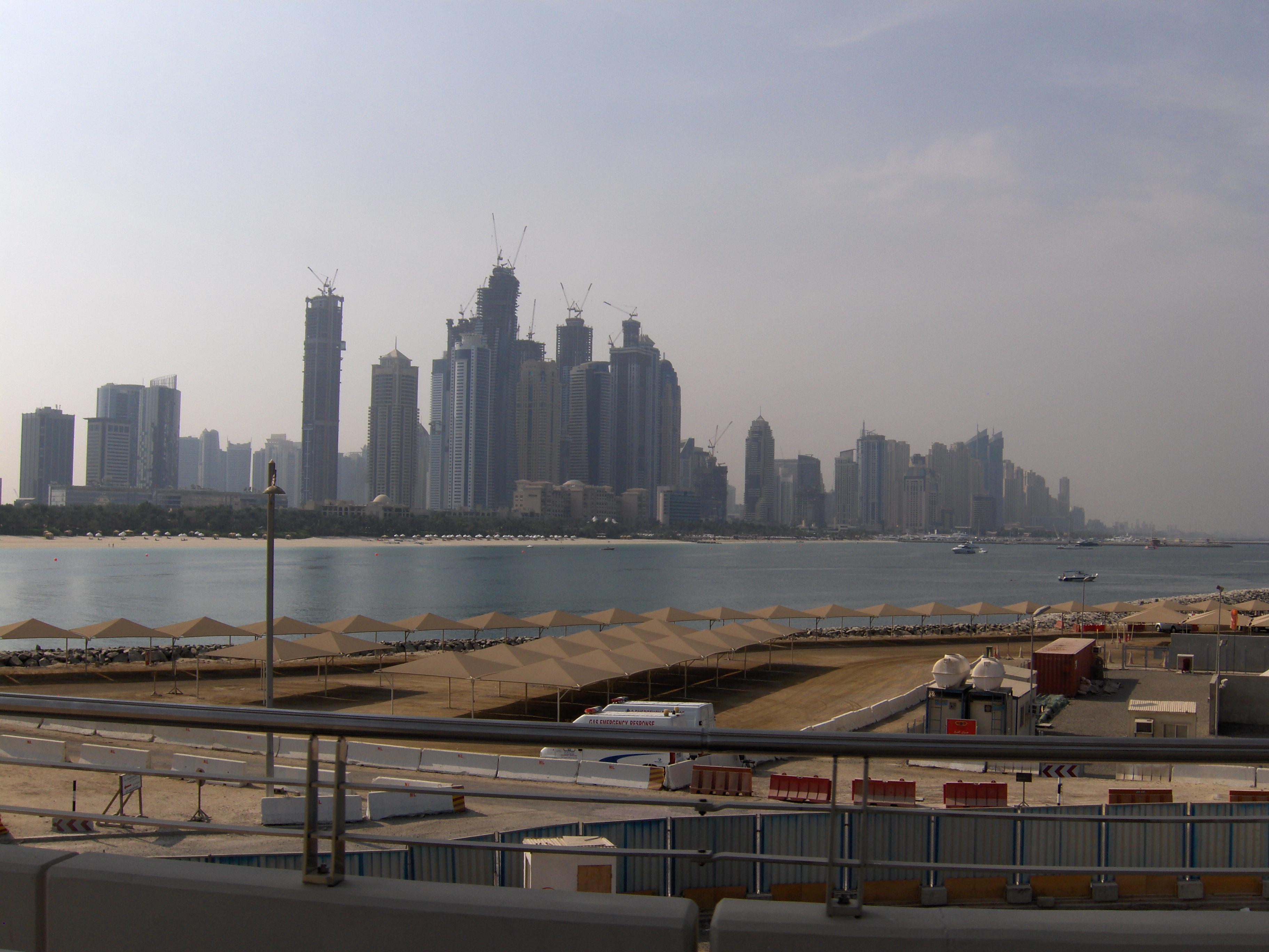 skyline of dubai under construction united arab emirates