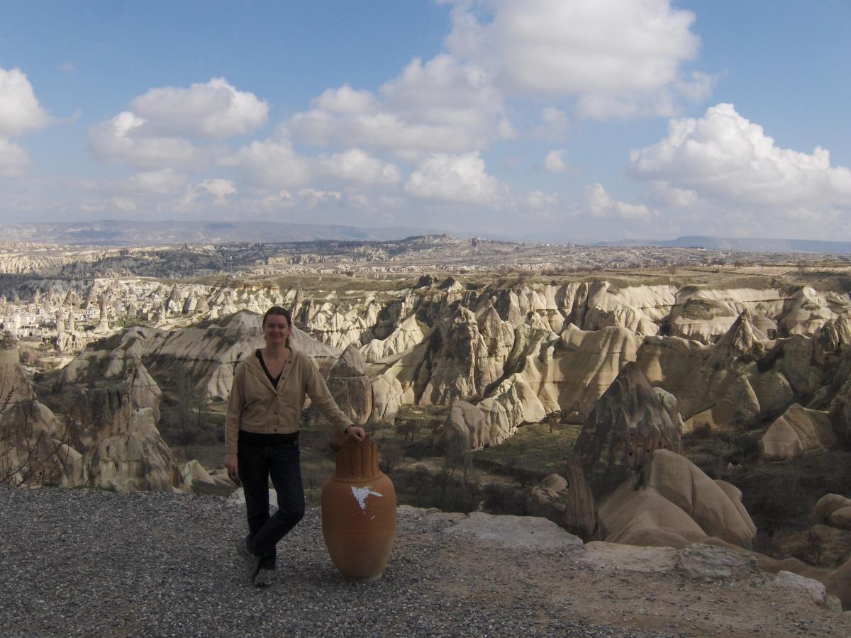 girl next to vase Cappadocia Turkey