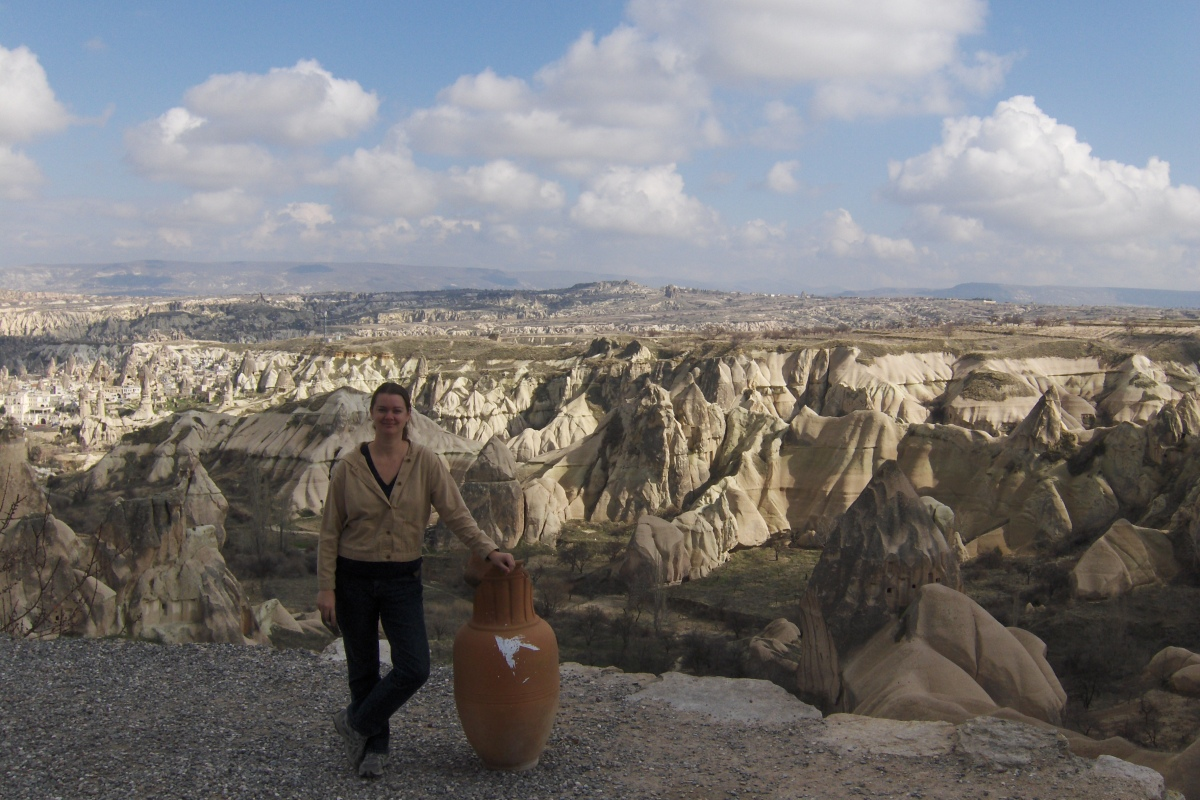 girl next to vase Cappadocia Turkey