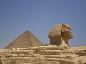 The sphinx and pyramid at cairo egypt