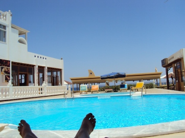 toes and pool of water in Dahab Egypt