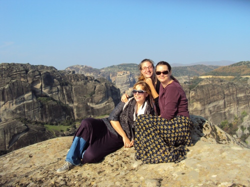 girls on mountain top in meteora greece