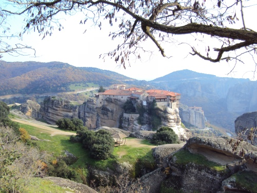 overview of monastery at meteora greece