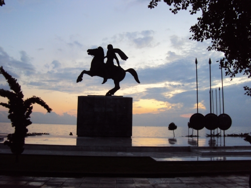statue of alexander ii at thessaloniki sunset greece