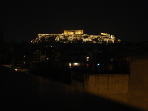 acropolis at night in athens greece