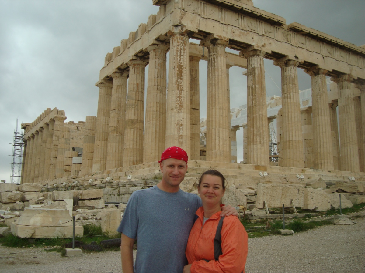 Chris and Deah in Athens, Parhenon