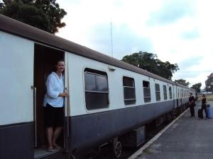 girl standing on nairobi express train from mombasa kenya