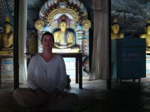 inside dumballa buddhist cave temple sri lanka