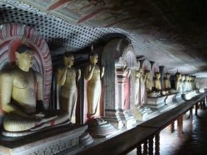 inside buddhist cave temple in Dumballa sri lanka