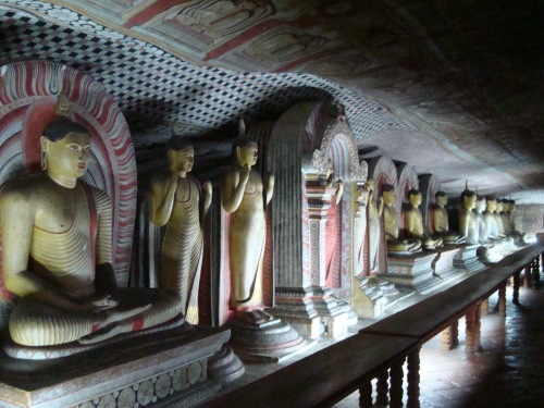 inside buddhist cave temple in Dumballa sri lanka
