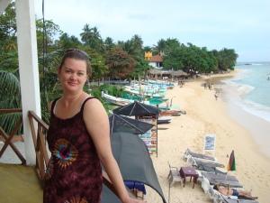 girl at unawatuna beach sri lanka