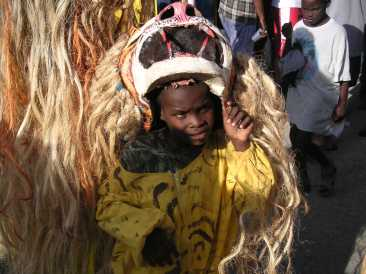 little boy in tiger costume haiti jacmel carnival