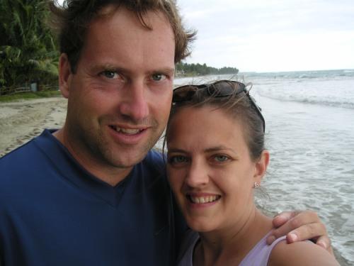 Tom and Sue on the beach near Jacmel Haiti