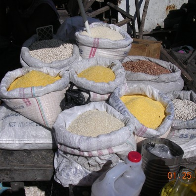 sacks of grains in the market in Haiti Petionville Port au Prince