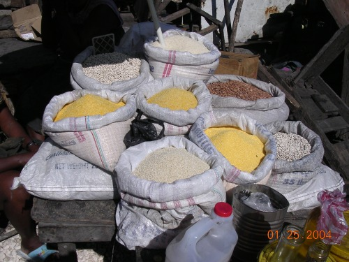 sacks of grains in the market in Haiti Petionville Port au Prince
