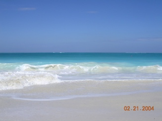 water and sand at turks and caicos beach