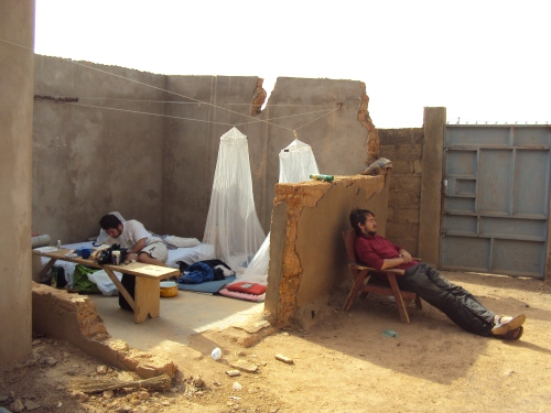 outdoor camping in unfinished home ougadougou africa burkina faso