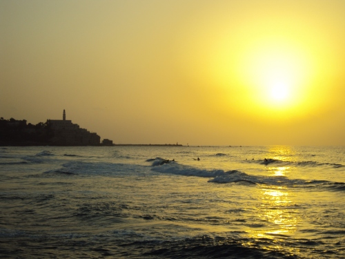 jaffa at sunset with waves