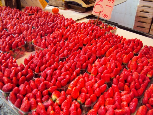 red strawberries at carmel market tel aviv israel