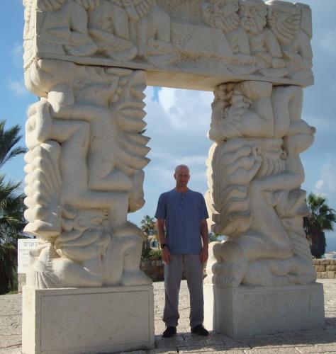 man standing at spot where abraham prepared to sacrifice isaac israel jaffa