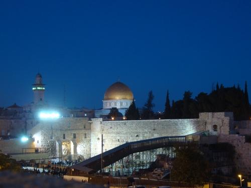 jerusalem lit up at night israel
