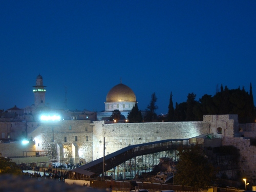 jerusalem lit up at night israel