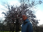 man in front of pink and white flowering tree