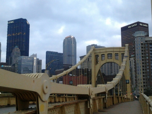 bridge entering Pittsburgh with skyline
