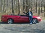 lady with red convertible car chrysler sebring
