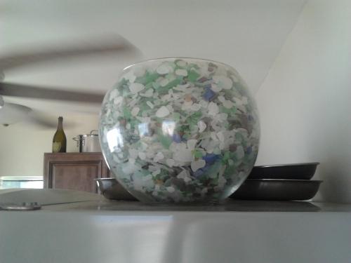 glass bowl of sea glass haiti