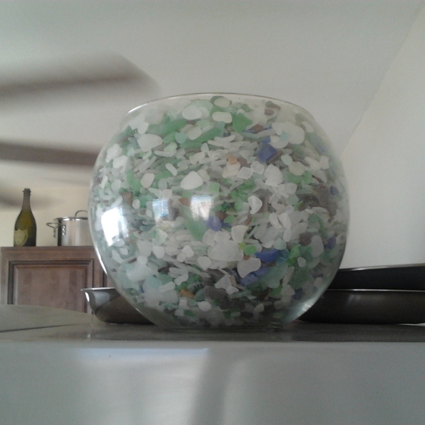 glass bowl of sea glass haiti