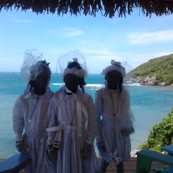 Haiti first communion four little girls in white