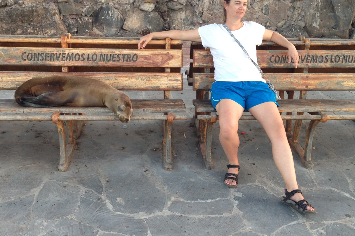 lady sitting next to sea lion on bench in galapagos