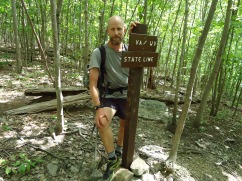 Hiker at Virginia West Virginia State line appalachian trail