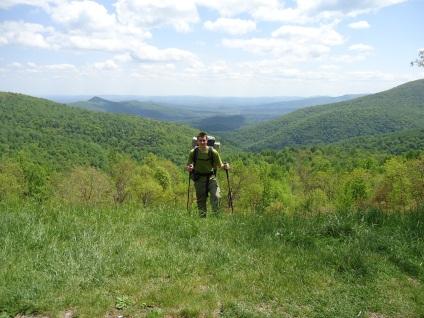 hiker in a field Appalachian Trail Virginia
