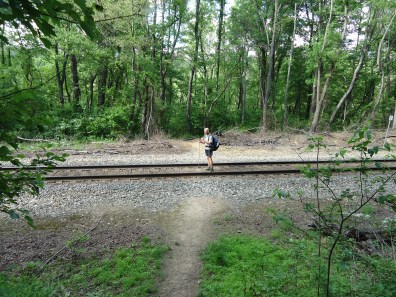 Hiker standing on railroad tracks appalachian trail virginia