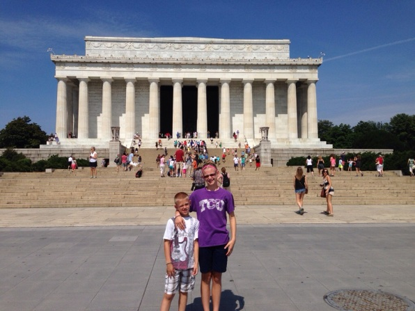 Kids standing in front of Lincoln Memorial Washington DC