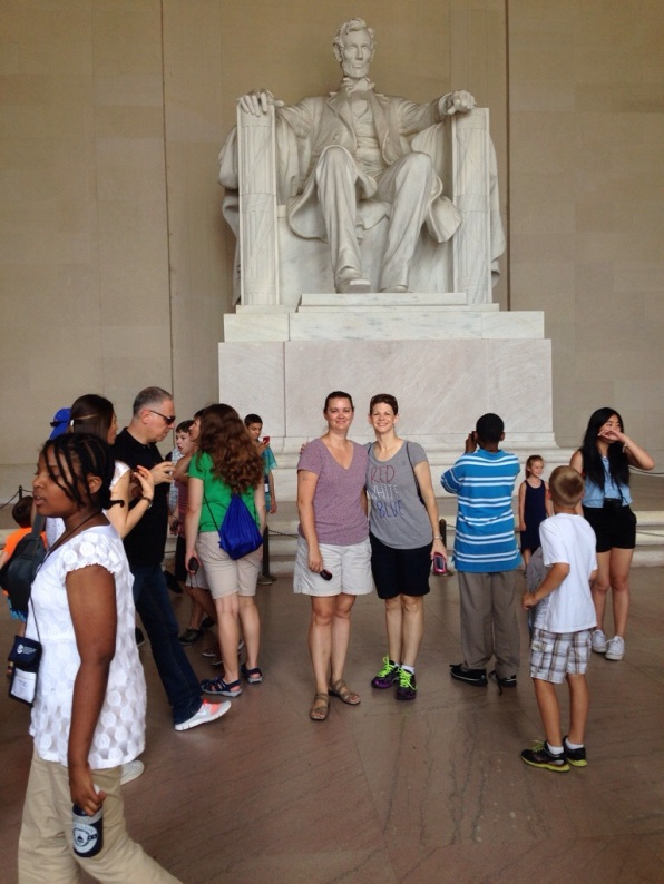 Crowd in front of Lincoln Statue Washington DC