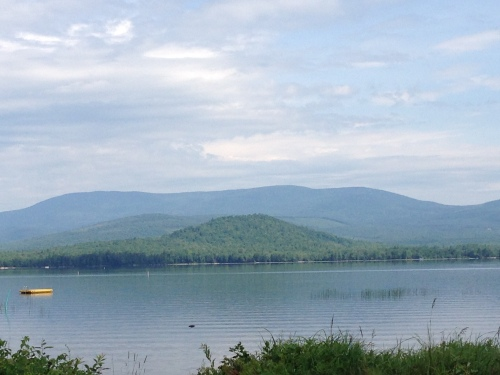 view of a lake and a mountain in Maine