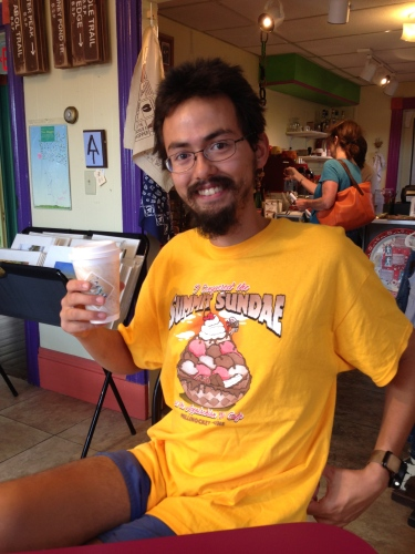 Hiker in Summer Sundae shirt after finishing Appalachian Trail in Maine