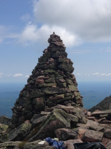 rock cairn on mount katahdin end of appalachian trail maine