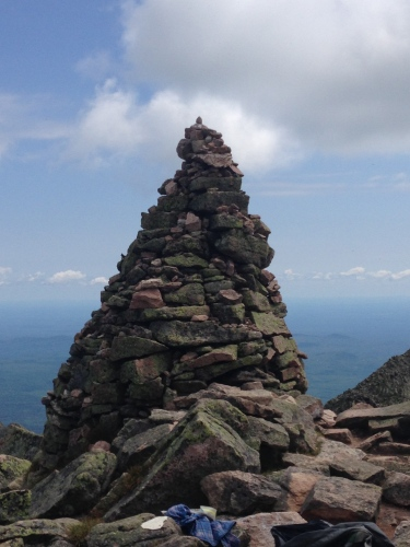rock cairn on mount katahdin end of appalachian trail maine