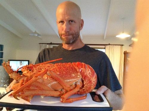 Chris holding giant lobster