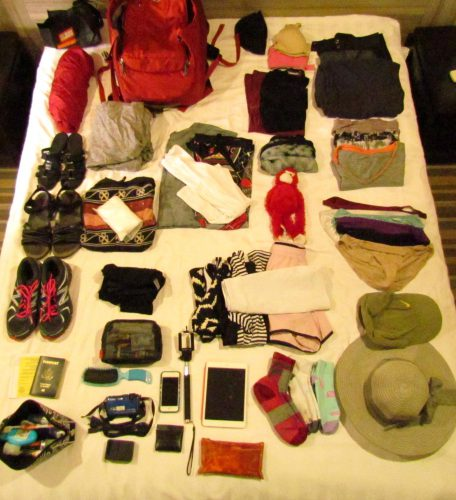 Packing list, what to pack for a year long trip, packing for around the world