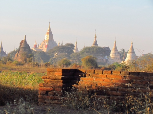 Hundreds of stupas in the plains around Bagan Myanmar